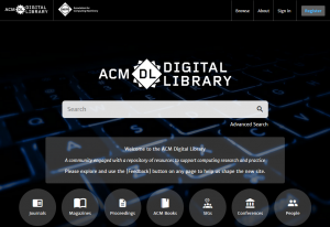 Home screen of the ACM Digital Library